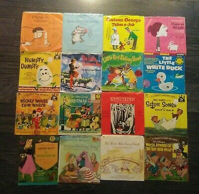 Lot of 50 Vintage Records and Read Along Books