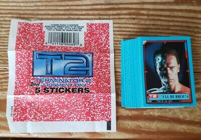 1991 Topps Terminator 2 Judgement Day Sticker Set Of 44 W/Wrapper All Are Mint