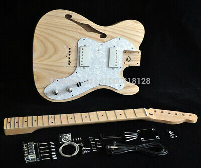 Unfinished Eectric Guitar Project DIY Kit - Ash Wood Body- Tele Two Humbuckers