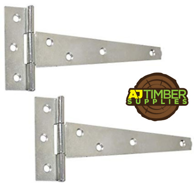PAIR Galvanised or Zinc Tee Hinges Gate Shed 4/6/8/10/12/14/16/18/24