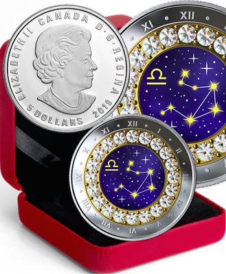 2019 LIBRA Zodiac $5 1/4OZ Pure Silver Proof Canada 27mm Coin with Crystal