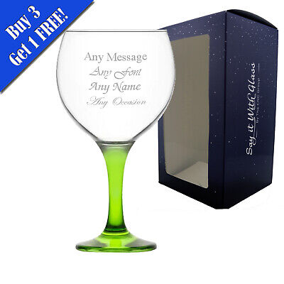 Personalised Engraved LAV Misket Spanish Balloon Gin Glasses - 645ml - Green