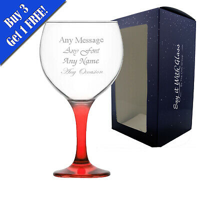 Personalised Engraved LAV Misket Spanish Balloon Gin Glasses - 645ml - Red