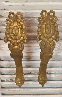 Magnificent PAIR Huge Antique French Crested Ormolu Curtain Pole Holders 19th C
