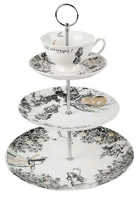 V& Alice In Wonderland 3 Tier Tea Cup Cake Stand Fine China Dessert Display SALE