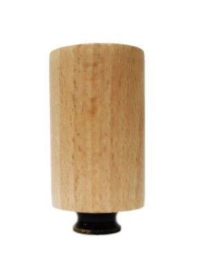 Lamp Finial-SOLID BEECH WOOD CYLINDER-W/Dual Thread Base-Antique Brass