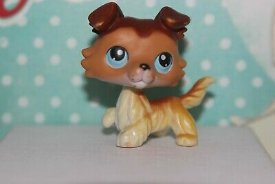 AUTHENTIC Littlest Pet Shop COLLIE 58 tan White Brown Dog Blue Eyes SAGE paw up