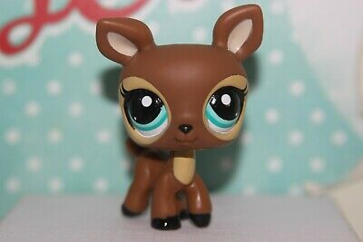 Authentic Littlest Pet Shop #3583 Mom #3584 Baby Deer Both Brown Blue Eyes
