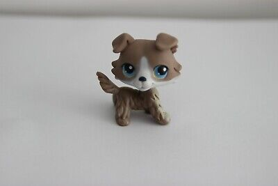 AUTHENTIC Littlest Pet Shop LPS colley COLLIE #67 Blue Eyes Grey