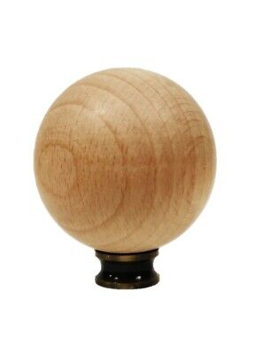 Lamp Finial-SOLID BEECH WOOD BALL-LARGE-W/Dual Thread Base-Antique Brass