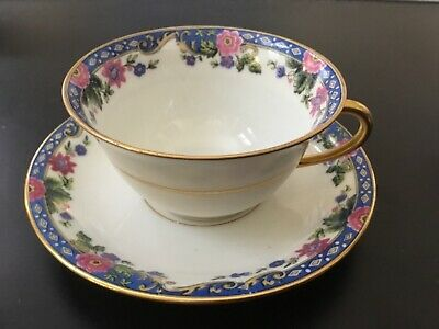 Vintage Limoges Elite Works Cup Saucer Set~Gold Rim~Floral Rose Buds~Pink~Blue