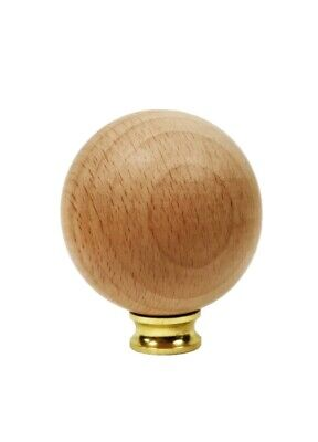 Lamp Finial-SOLID BEECH WOOD BALL-LARGE-W/Dual Thread Base-Polished Brass