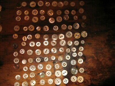 Vintage Lot Of Buttons Mother of Pearl MOP in mom's wood  container