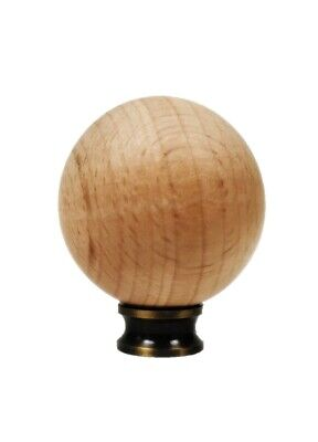 Lamp Finial-SOLID BEECH WOOD BALL-SMALL-W/Dual Thread Base-Antique Brass