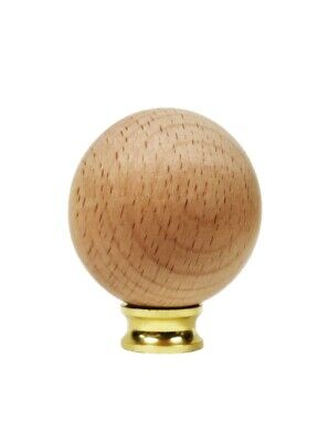 Lamp Finial-SOLID BEECH WOOD BALL-SMALL-W/Dual Thread Base-Polished Brass