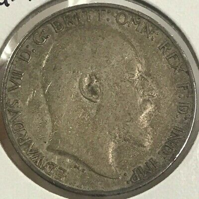 1910 Great Britain One Florin 2 Shillings Silver Coin