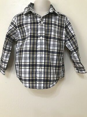 Janie And Jack Boys Blue And Yellow Plaid Button Up Long Sleeve Shirt. Size 2t
