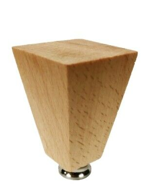 Lamp Finial-SOLID BEECH WOOD TAPERED RECTANGLE-W/Dual Thread Base-Satin Nickel