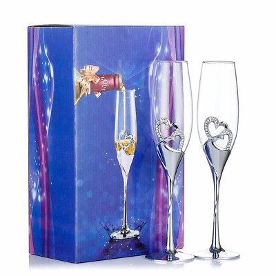 Silver Creative Heart Set with Diamonds Champagne Flutes - Wedding Glasses For &