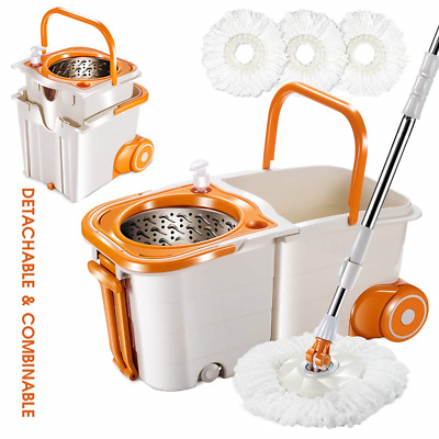 Masthome Mop and Buckets Sets on Wheels Space Saving Magic Spin Mop for Hardwood