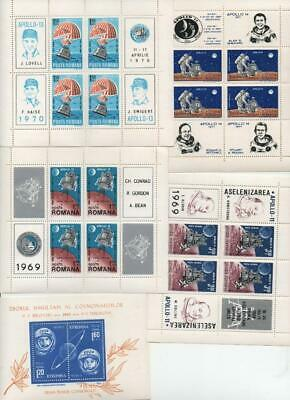 ROMANIA: 1963-1971 Selection of Space Theme Mint Condition Mini Sheets (25969)