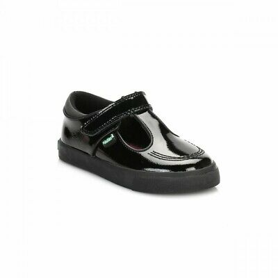 Kickers Infant Black Tovni T Bar Patent Leather Shoes Smart Style Strap 1-14129