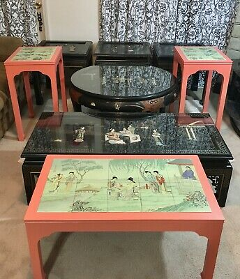 Vintage Oriental/Chinese/Japanese Tables, Mother of Pearl, Tile, Excellent!