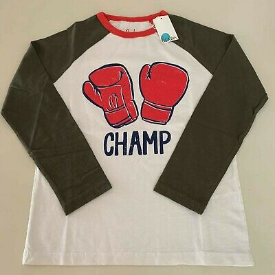 "Mini Boden Boys ""CHAMP"" Raglan Shirt. Size 8-10 years. So Comfy and Unique!"