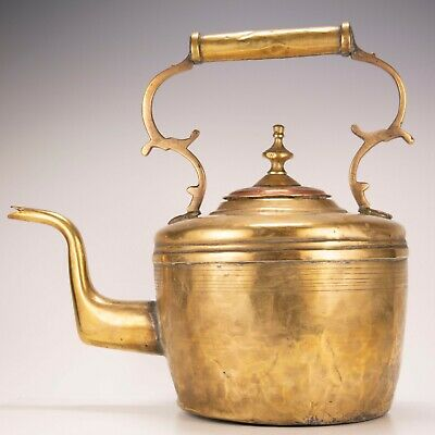 Antique English Victorian Large Oversize Brass & Copper Coffee Tea Kettle