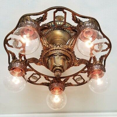 691b High Quality Vintage Antique aRt Nouveau Ceiling Light Fixture Chandelier