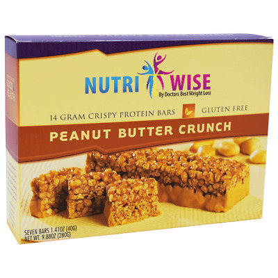 NutriWise - High Protein Diet Bar | Peanut Butter Crunch | Low Calorie, 7/Box