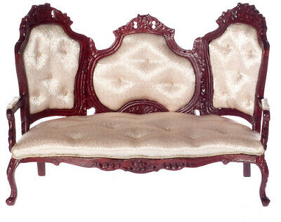 DOLLHOUSE MINIATURE COLLECTIBLE Victorian Rococo Settee w/Rose Satin Upholstery