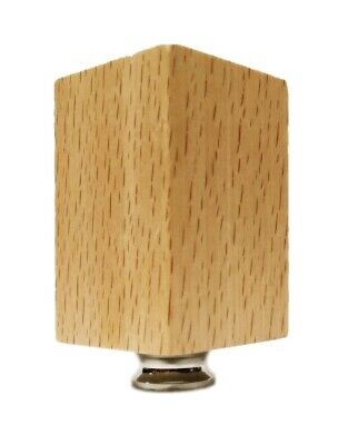 Lamp Finial-SOLID BEECH WOOD RECTANGLE CUBE-W/Dual Thread Base-Chrome