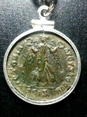 Constantius II Victory w/2 Wreaths Ancient Roman Coin Sterling Silver Necklace