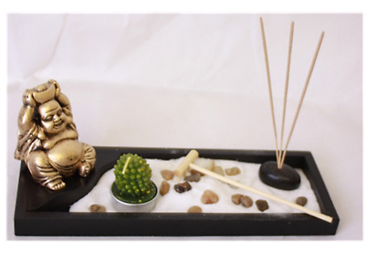 Zen Garden laughing Buddha Ornament Statue Candle Holders Natural Stone Rattan