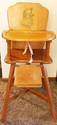 Antique Wooden HI-CHAIR w/ Safety Belts - Williamsburg Chair Co. - Vintage Baby