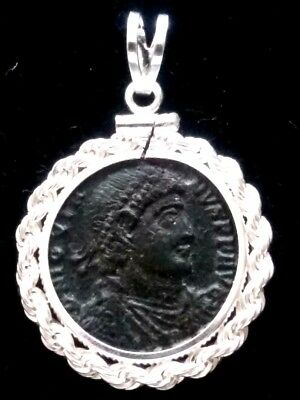 Jovian Wreath Authentic Ancient Roman Coin Sterling Silver Rope Pendant Necklace