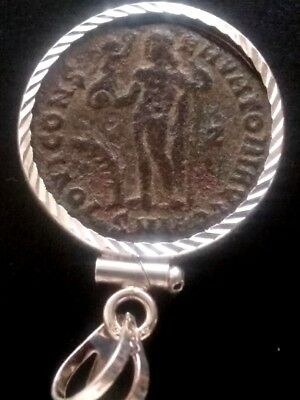 RARE Constantine Great Jupiter Authentic Ancient Roman Coin Sterling Pendant