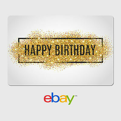 eBay Digital Gift Card - Happy Birthday Gold Glitter -  Email delivery