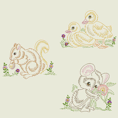 VINTAGE BABY ANIMALS 2 -6inch- 10 Machine Embroidery Designs CD (FREE SHIPPING)