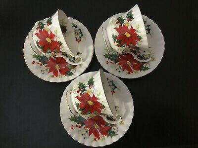Royal Albert Christmas China POINSETTIA 3 Sets Cup Saucer Yuletide~Red~Gold