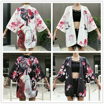 Lady Girls Japanese Kimono Coat Loose Yukata Outwear Tops Retro Floral Fashion