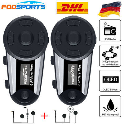 2X 1200M Motorrad Helm Sprechanlage Bluetooth Gegensprechanlage V6 Plus Intercom