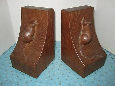 """Rare Vintage 1930's Robert """"Mouseman"""" Thompson Hand Carved Wooded Mouse Bookends"""