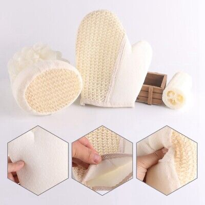 Natural Ramie Skin Exfoliating Bath & Shower Mitt Glove Scrubber Loofah Wash Set