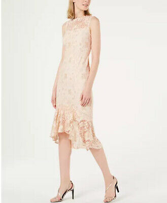 Calvin Klein Lace Overlay Midi Light Pink Floral Women's Dress NEW