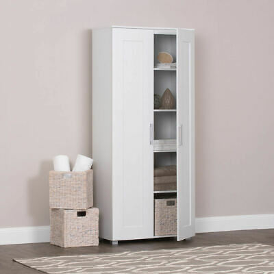Tall Storage Cupboard Cabinet Montreal White 2 Door 5 Shelves Linen Pantry