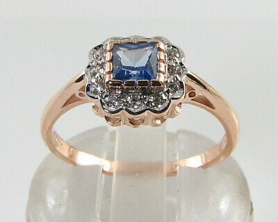 DAINTY 9k 9CT ROSE GOLD CEYLON SAPPHIRE DIAMOND ART DECO INS RING FREE RESIZE