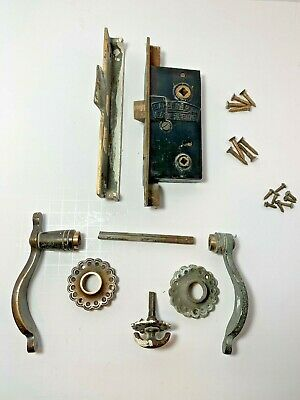 Antique Sargent and Co. Easy Spring Offset Mortice Lock Set for Double Doors