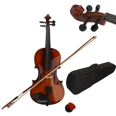 1/4 Size Acoustic Violin Fiddle Set + Case Bow Rosin for Students Beginners